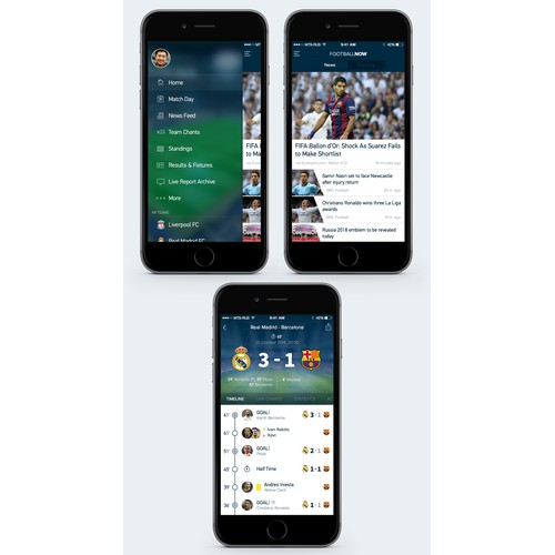 Re-design the clean, sleek UI of the next big thing in football apps