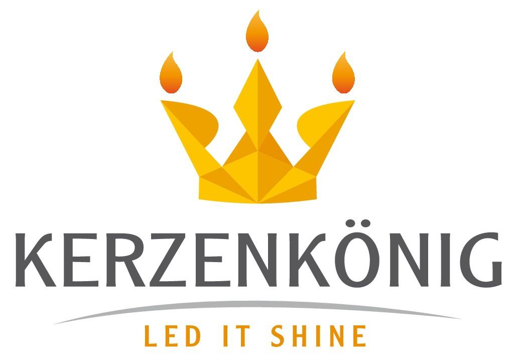 """Erstelle ein passendes Logo für den Kerzenkönig mit dem Slogan """"LED it schien"""""""
