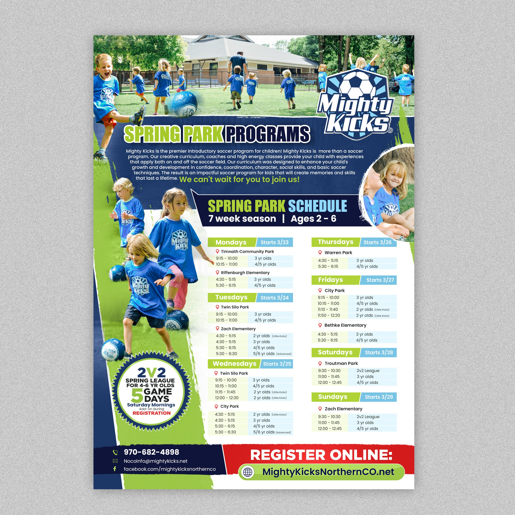 Engaging flyer for youth soccer program