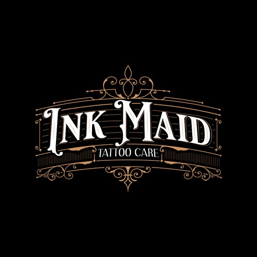 Vintage logo concept for Ink Maid Tattoo Care