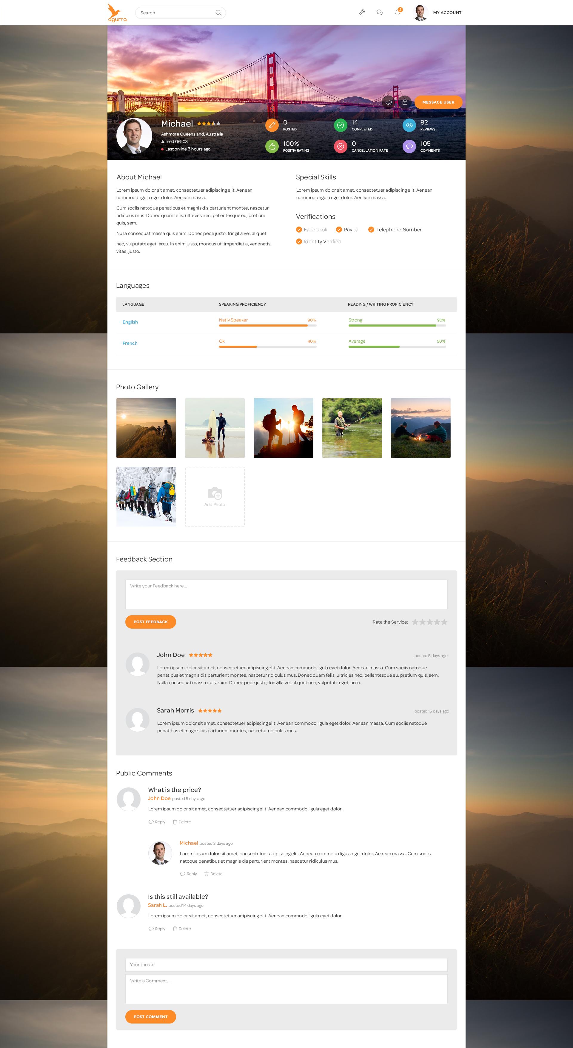 Agurra User Profile Page