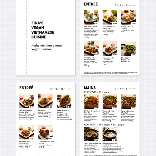 Clean and Modern menu design