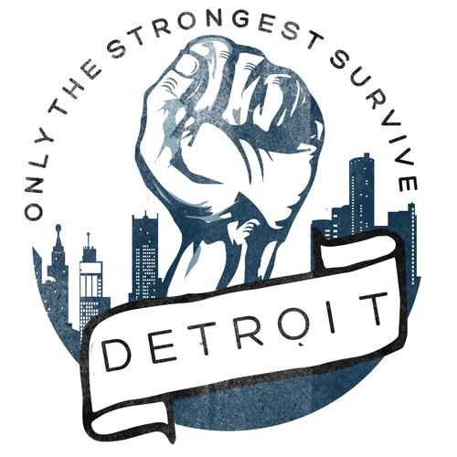hipster, vintage, city logo, detroit