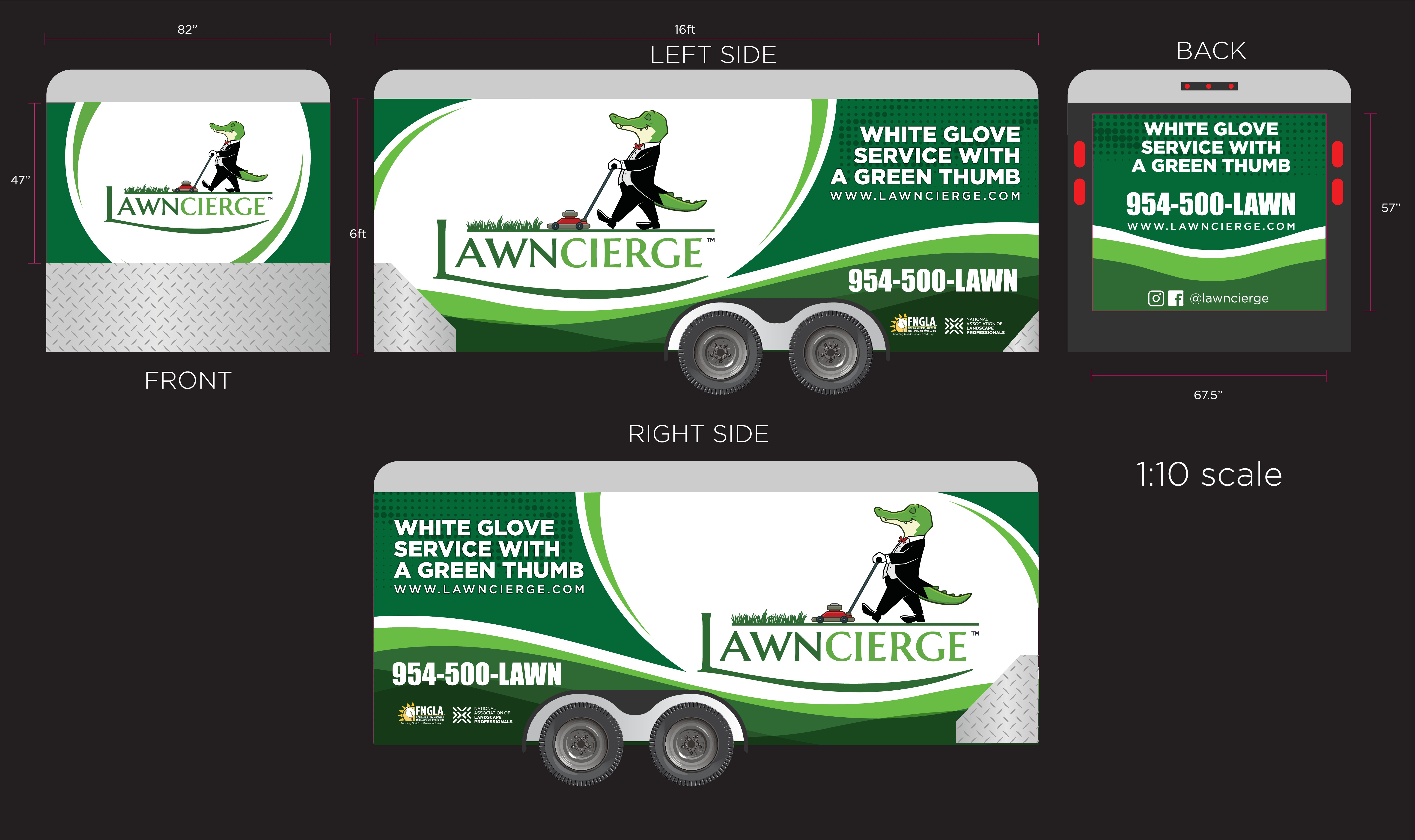 Design an iconic lawn maintenance vehicle and trailer wrap