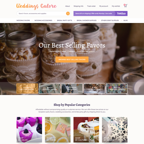 Weddings Galore Frontpage