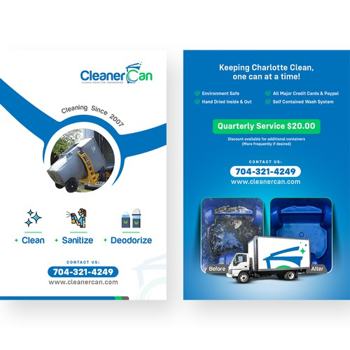 A Promotional Flyer Design for Trash Can Cleaning Business