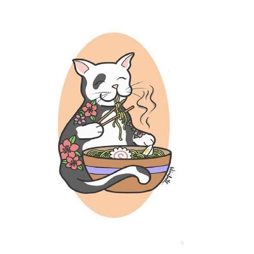Gatito comiendo ramen.