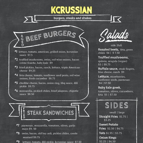 Casual hand drawn style menu