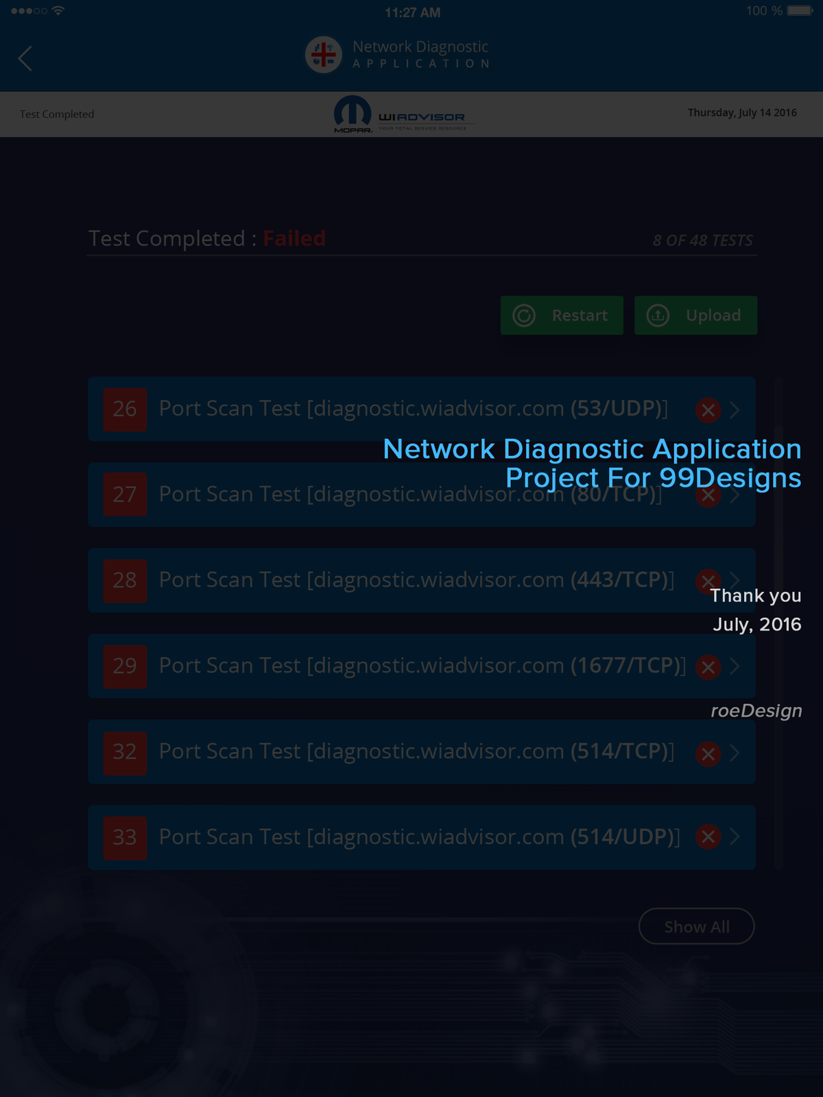 Network Diagnostic Application Results page