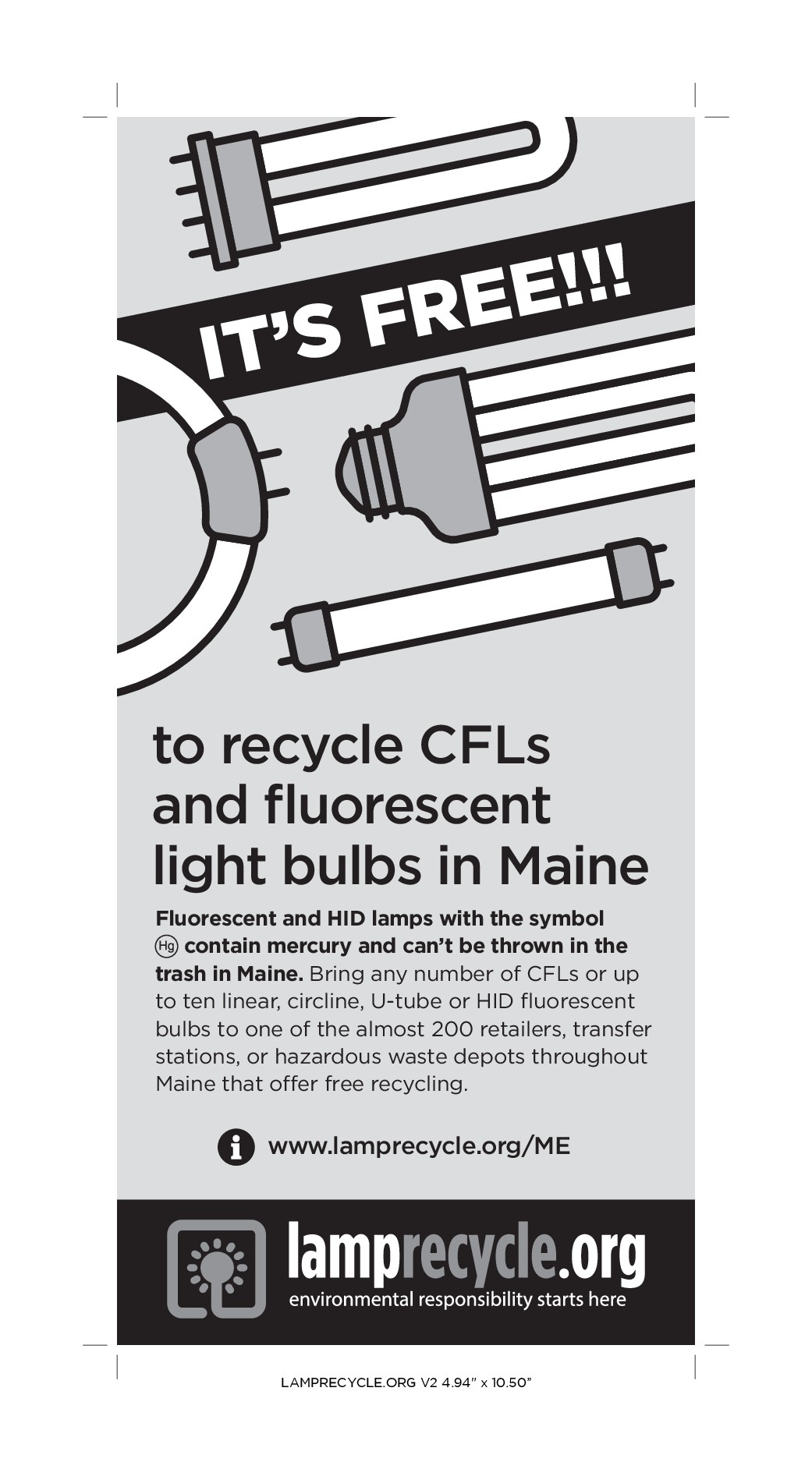 B&W 1/4 Page Print Advertisement-- Promoting Light Bulb Recycling