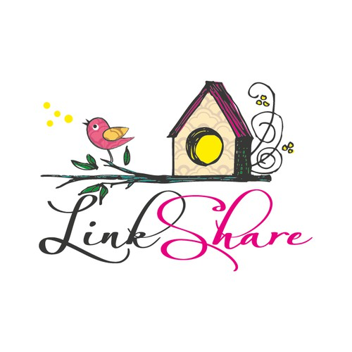 cute singing bird and house logo