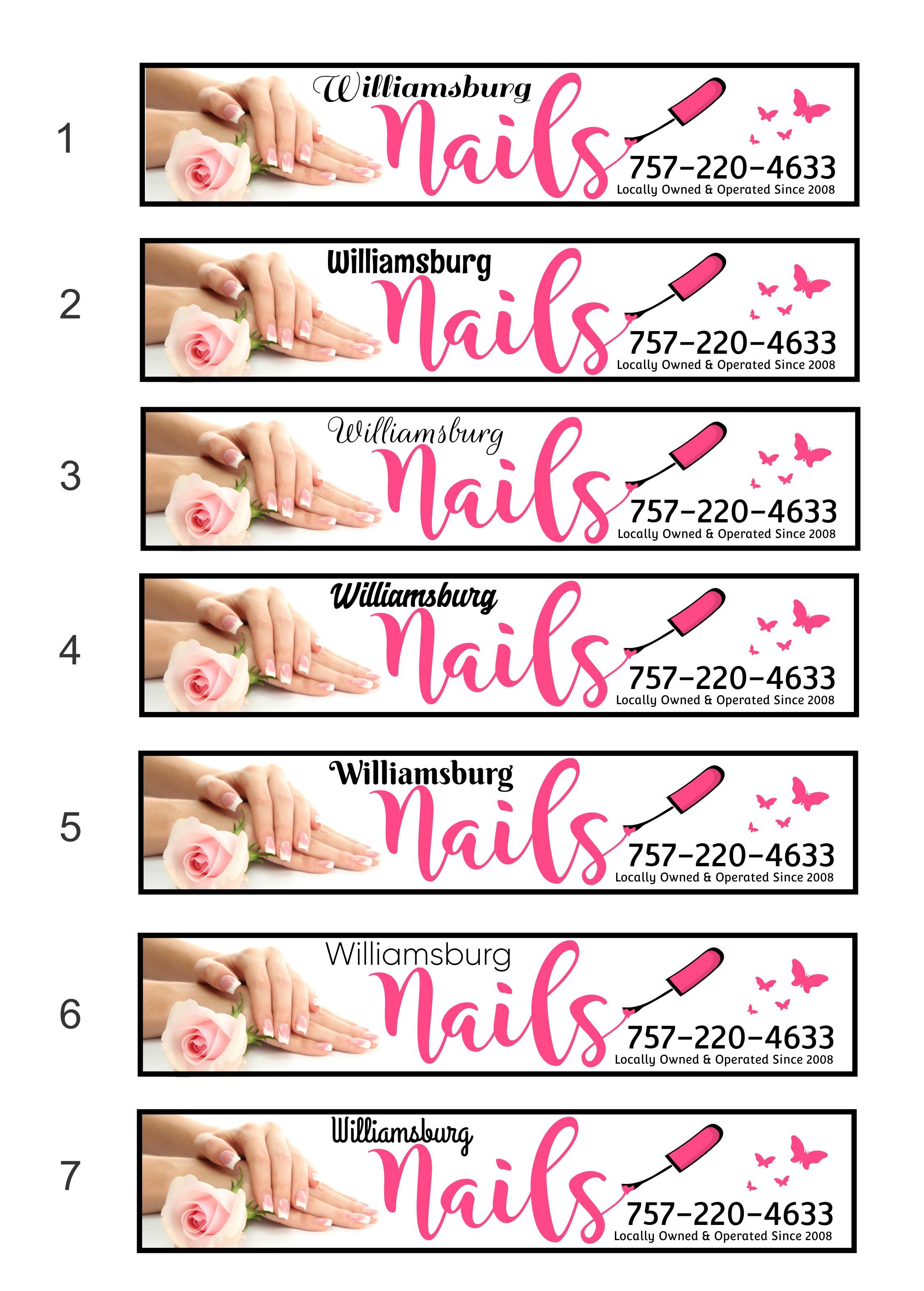 Williamsburg Nails needs an eye catching signage design