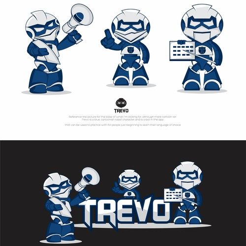 Robot Logo for Trevo, the first app that seamlessly helps people become fluent in a new language