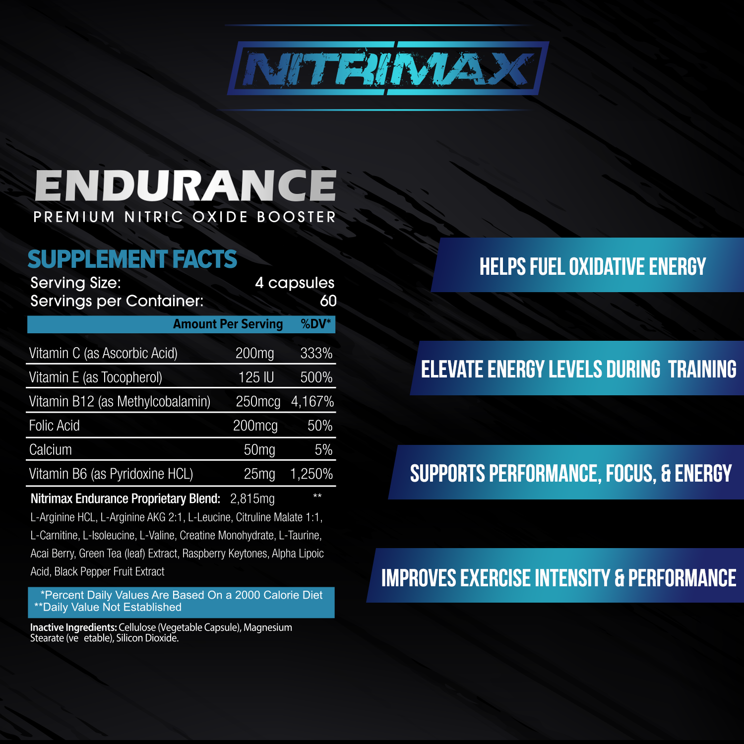 4 bottle package & supplement fact ad with bullet points