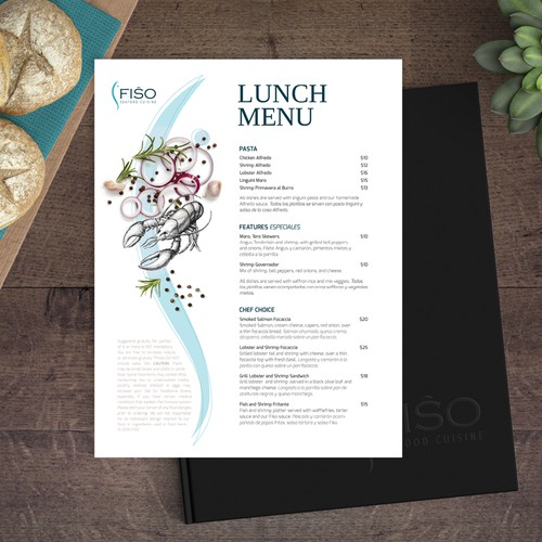Menu concept for a seafood restaurant