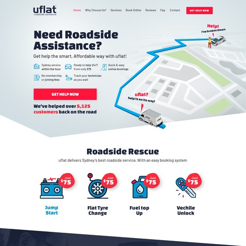 Uflat Roadside Assistance Website