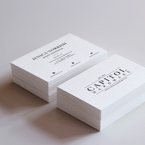 Business card for decorative hardware showroom