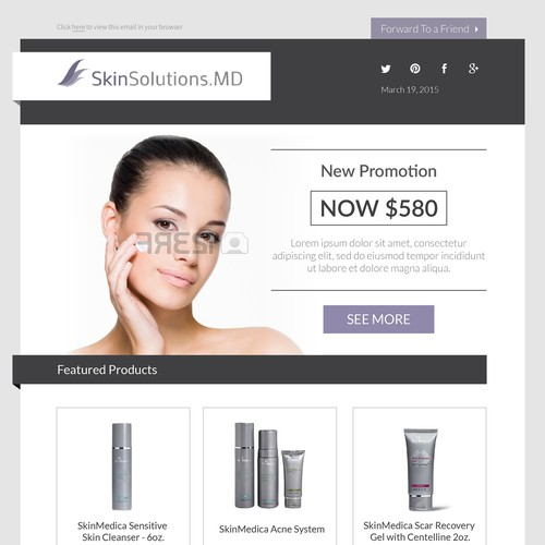 Email Template for a skincare eCommerce site.