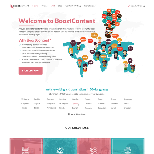 Web design for content writter and translator site