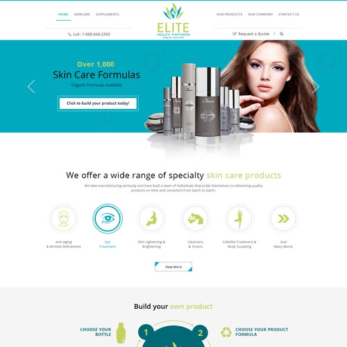 Beauty Product company website home page design.