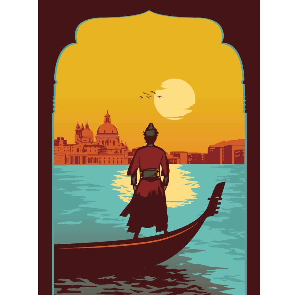 Create 3 mid-century inspired travel posters with vector illustration