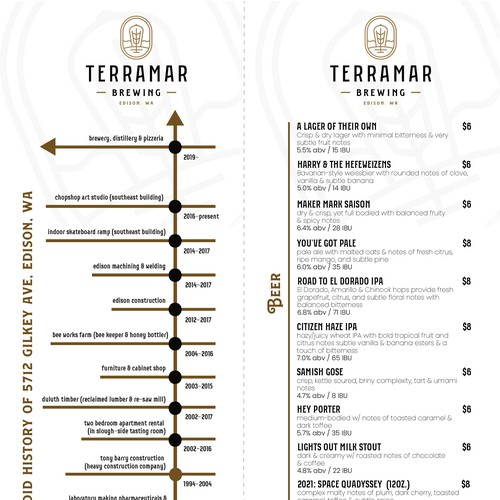 Menu Design for Brewery Company