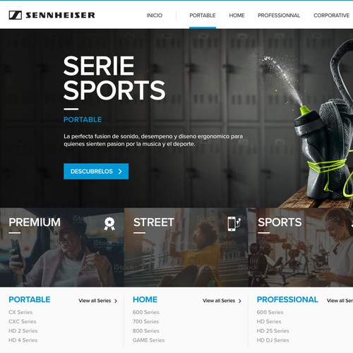 Categories section design for Sennheiser website