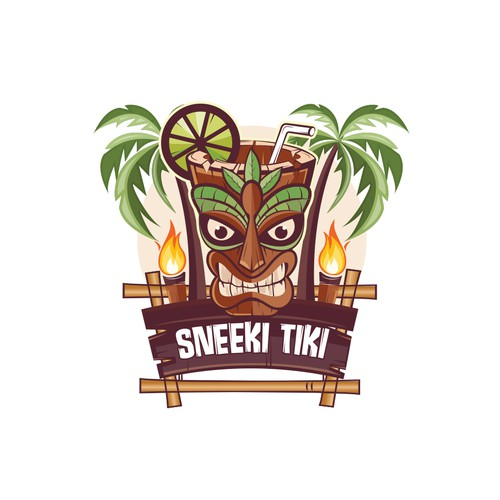This mascot logo design for a tiki restaurant & bar.