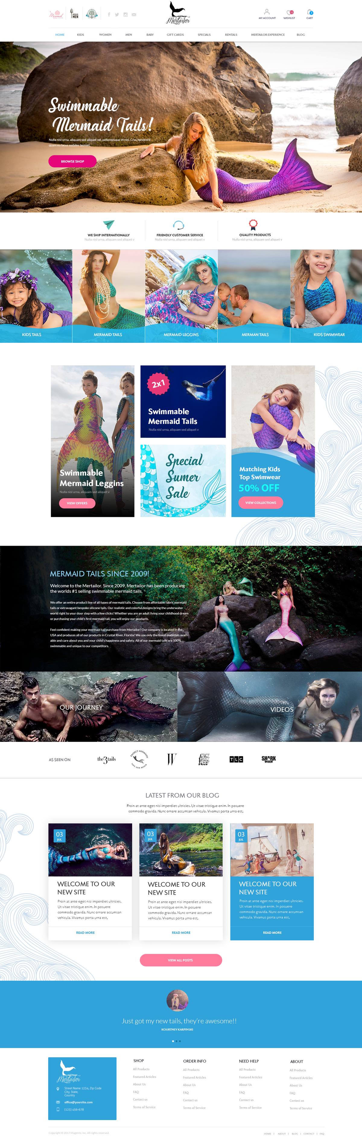 Mertailor Mermaid Tail Website Design for Magento 2