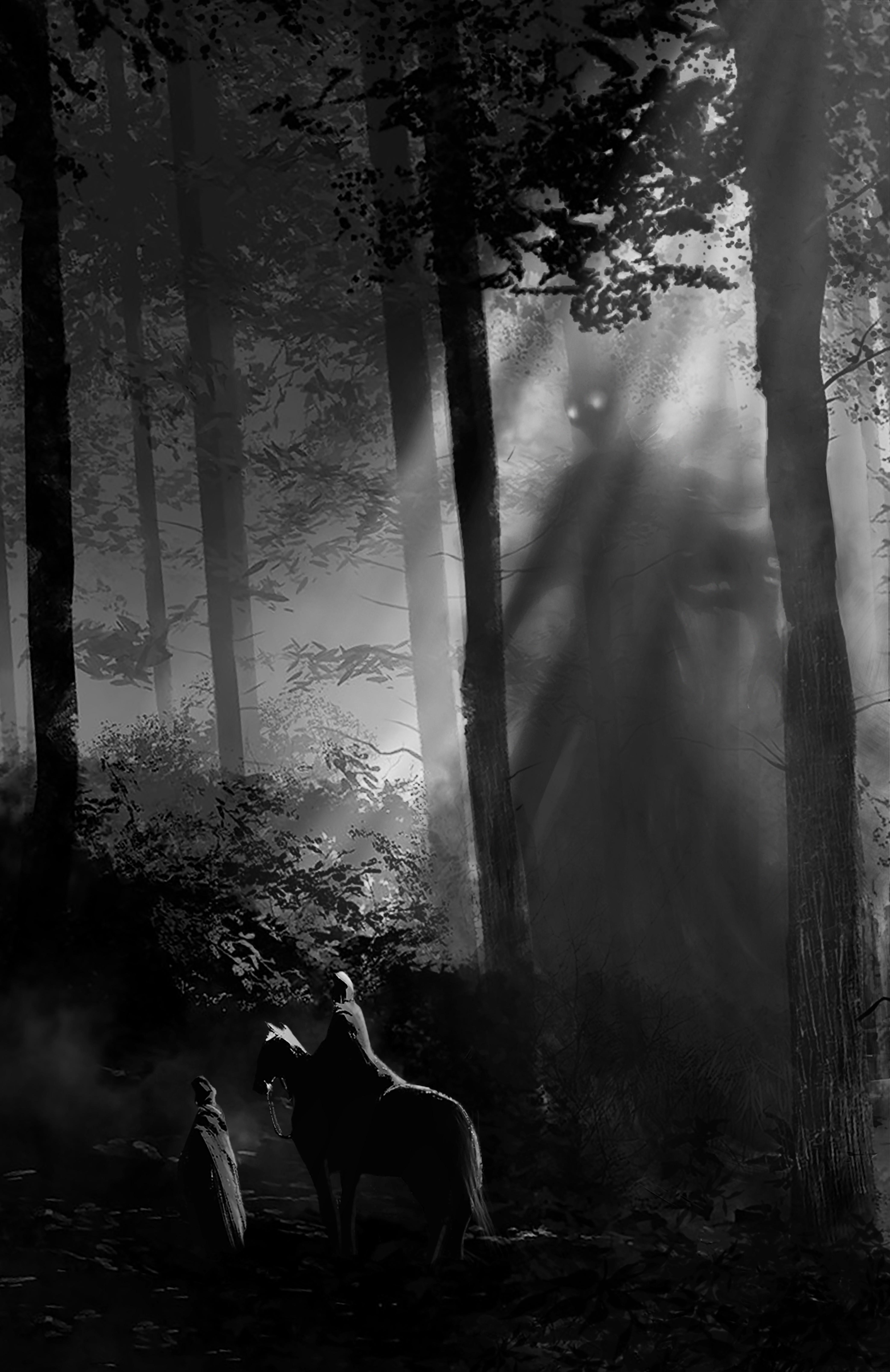 Ominous horror novel needs illustration of main villain to set tone/invoke dread