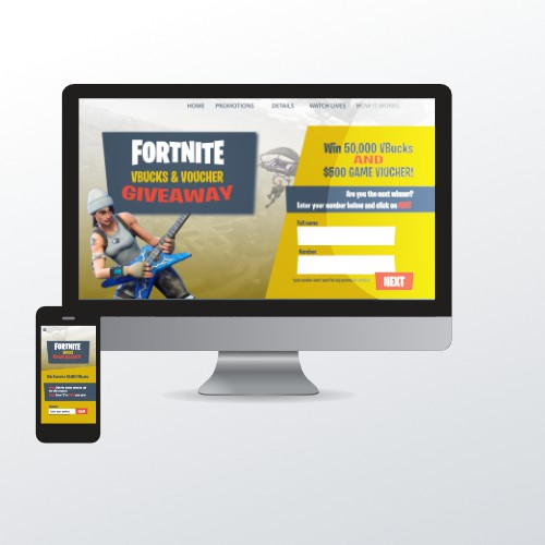 Contest Fortnite Giveaway Landing Page
