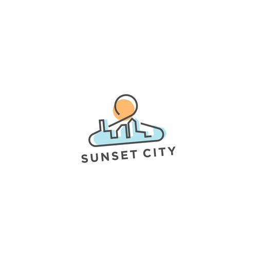 Logo concept for sunset city