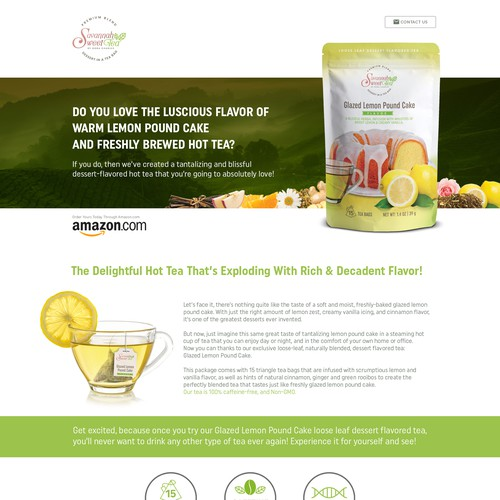 Landing page for Sannah Sweet Tea