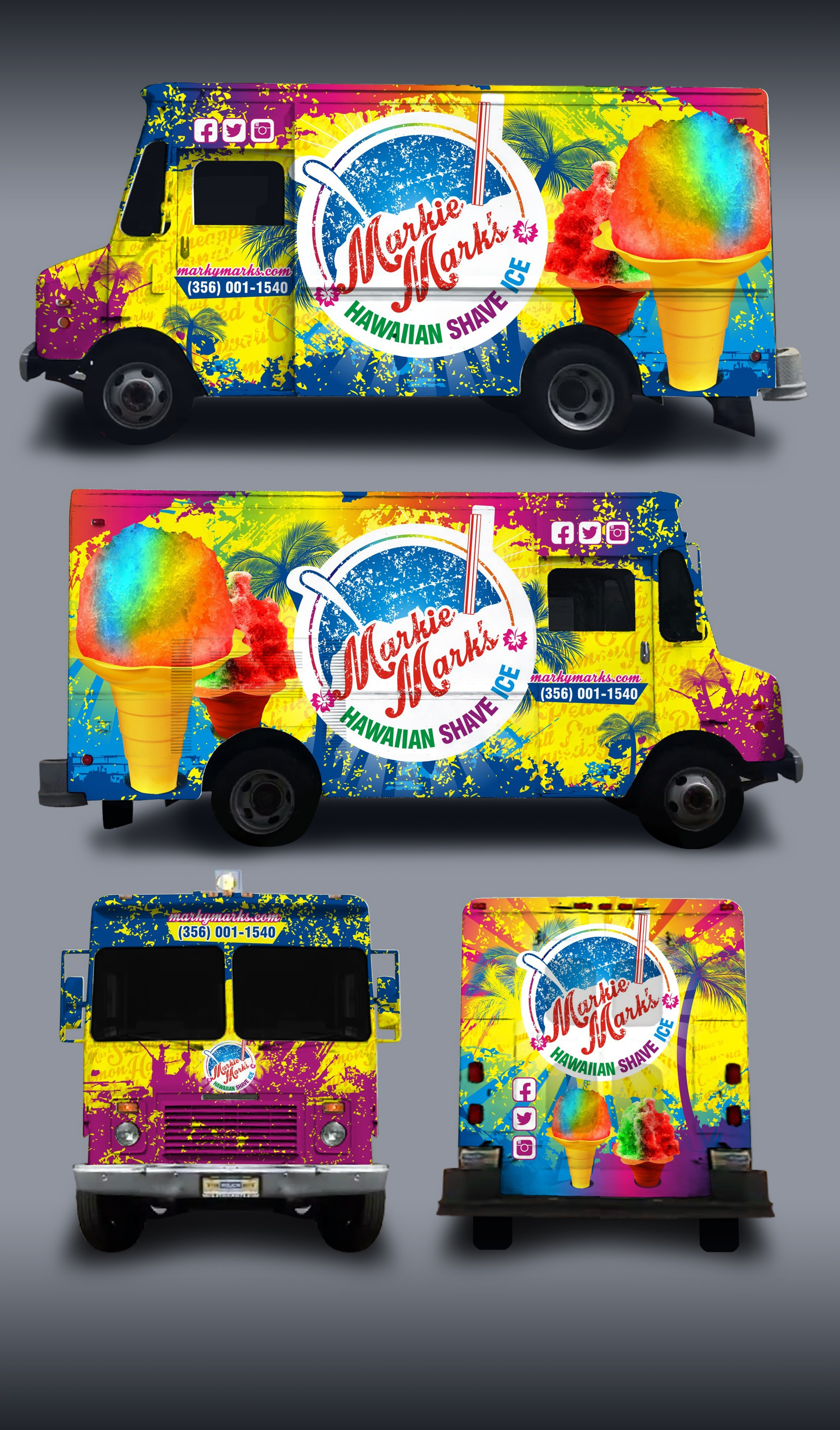Design a creative Hawaiian Shaved Ice Truck Wrap!!