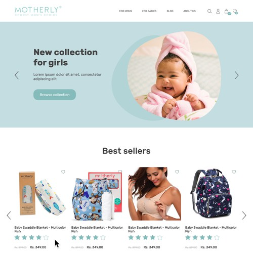 Website with newborn products for mums