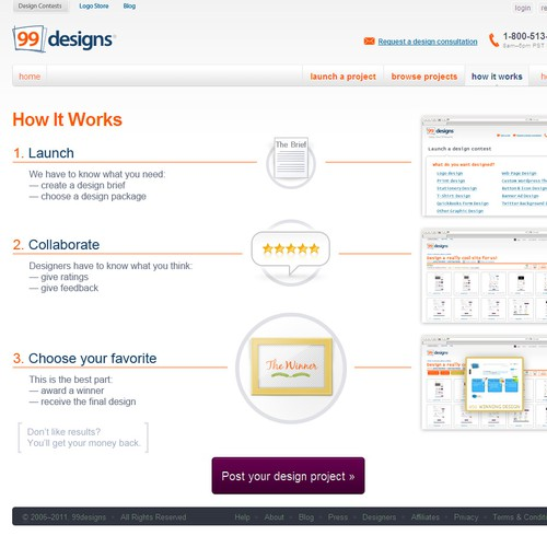 "Redesign the ""How it works"" page for 99designs"