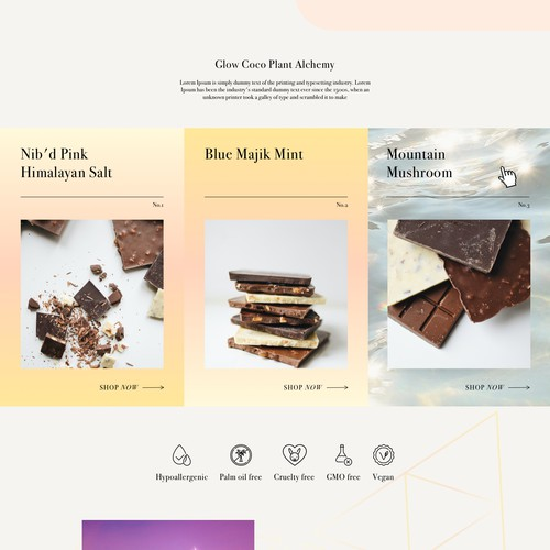 Landing page for CBD chocolate brand