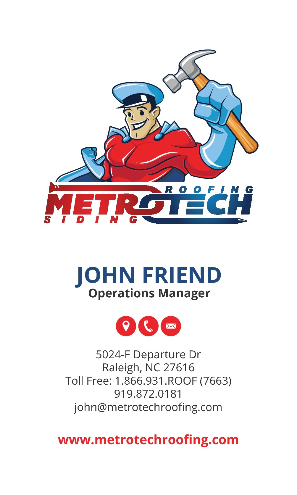 kick-azz business card. METROTECH Roofing Corp