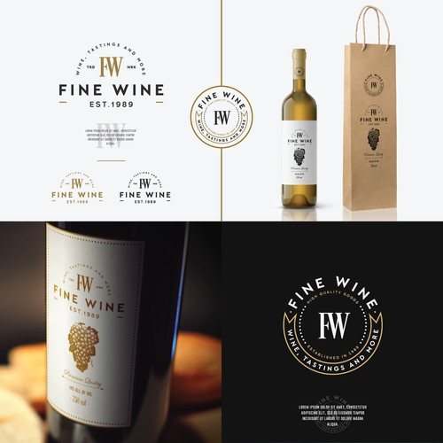 Logo concept for a wine a gourmet food shop