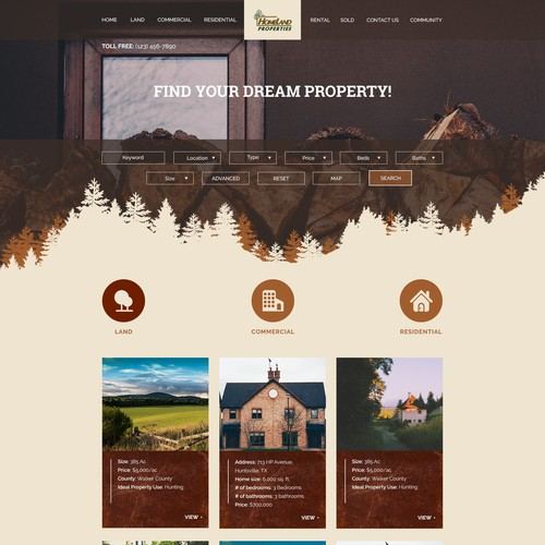 Home page for real estate company