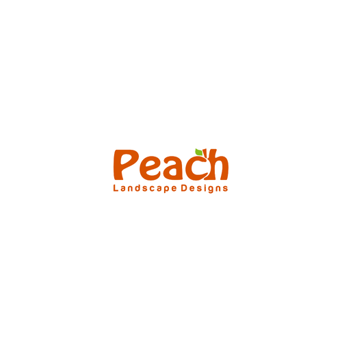 Incorporate a simple peach within a logo for Peach Landscape Designs