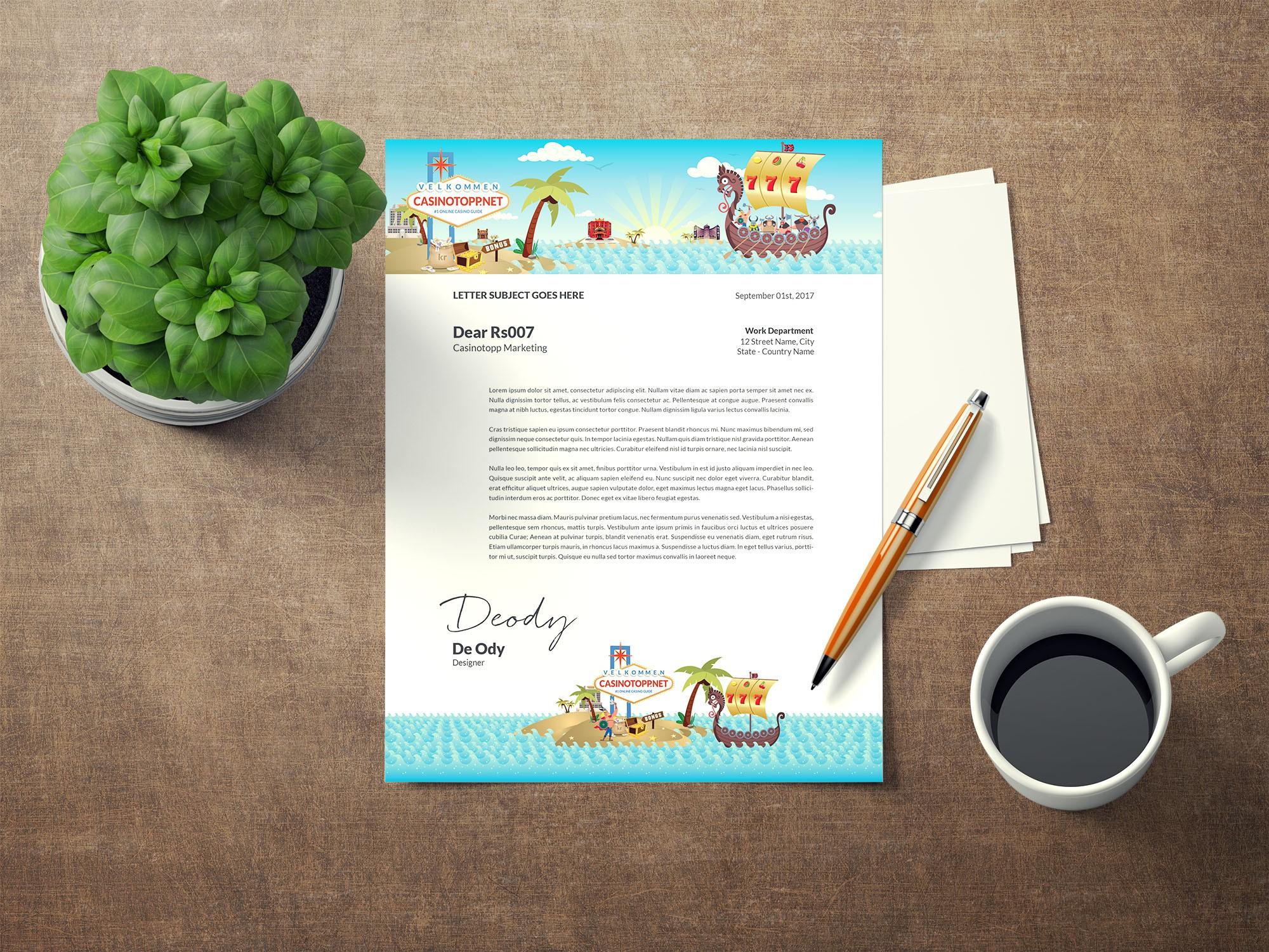 Design a minimalistic letterhead for https://www.casinotopp.net/