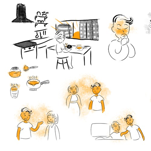 Series of illustrations to show the transformation of a morning coffee