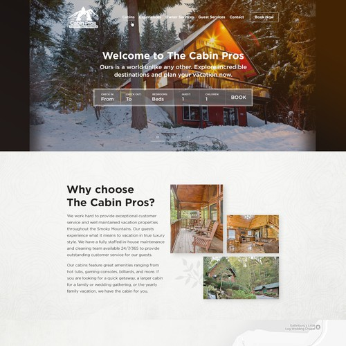 Full Redesign for vacation rental disruptor The Cabin Pros