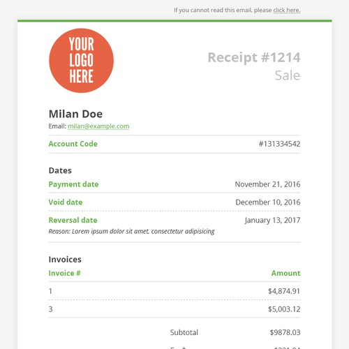 Email design receipt