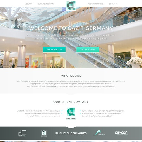 Minimal landing page for commercial real estate company