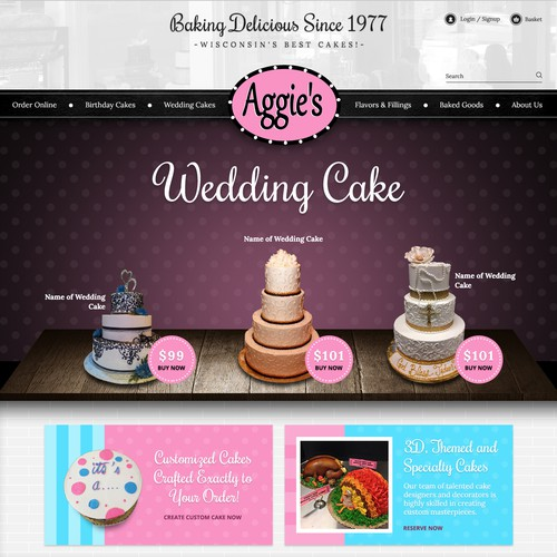 Homepage of Aggie's Bakery and Cake Shop