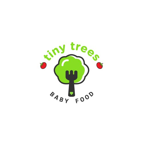 logo concept for a baby food Brand called Tiny Trees