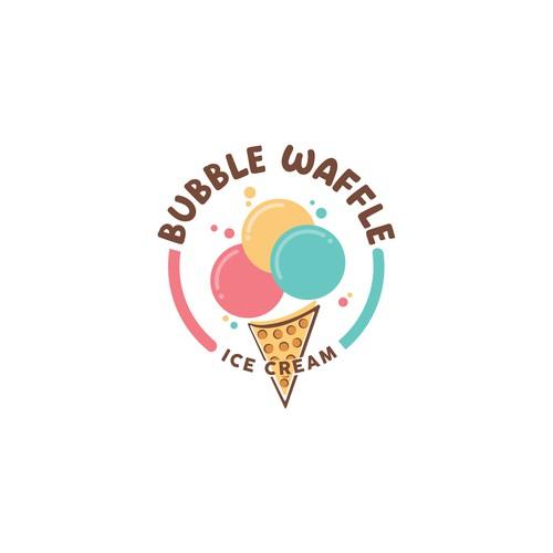 BUBBLE WAFFLE ICE CREAM LOGO