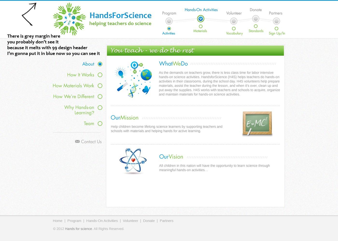 HandsforScience needs a new website design